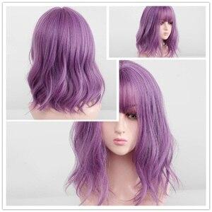 Image 5 - EASIHAIR синтетические парики с черными и красными волнами омбре с челкой для женщин, парики для волос средней длины, термостойкие парики для косплея
