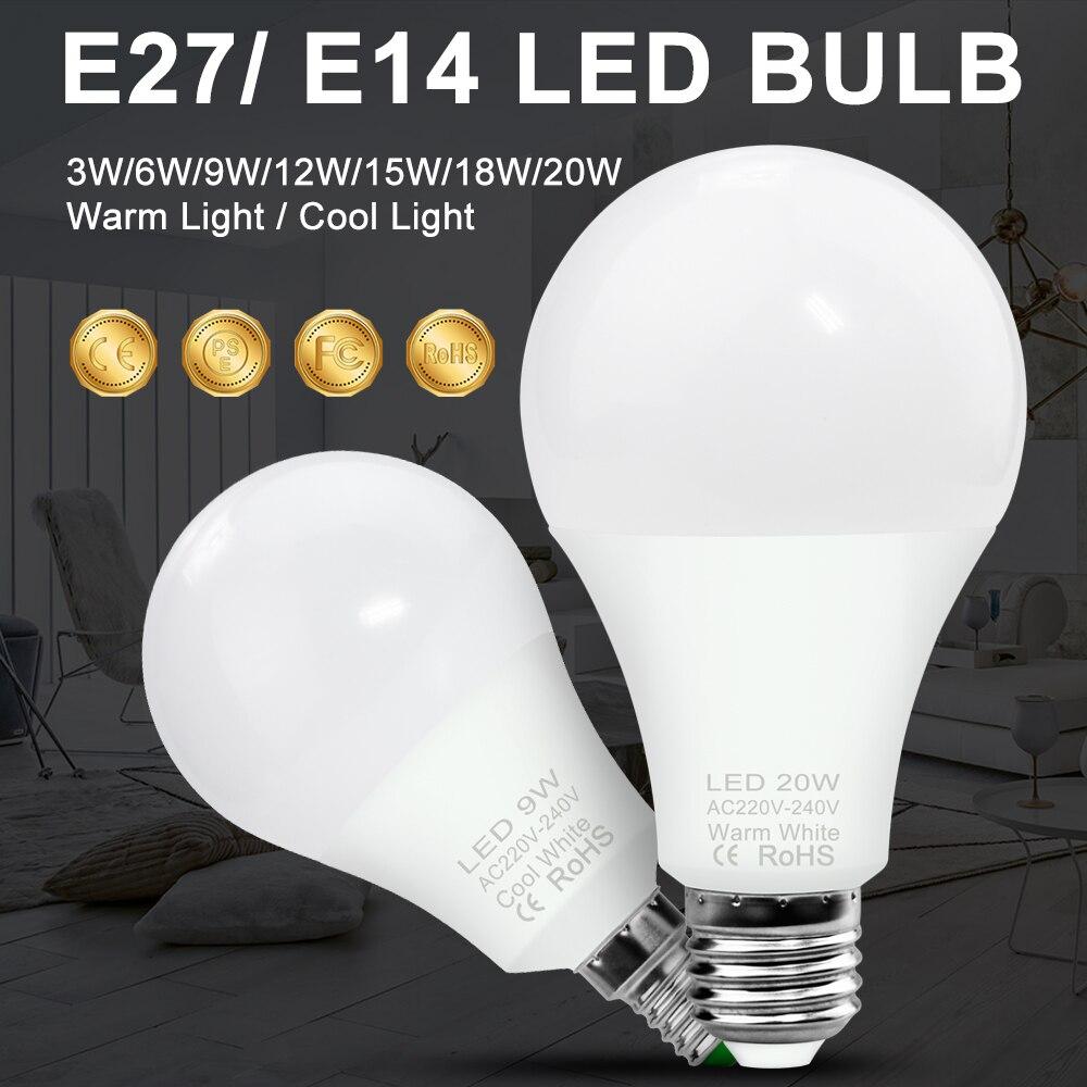 Bombilla LED E14 220V bombolas LED E27 Para El Hogar bombilla lámpara de mesa lampadada SMD 2835 Led 9W 12W 15W 18W 20W 110V 220V E27 RGB bombillas de luz led 5W 10W 15W RGB lámpara cambiable colorida RGBW LED lámpara con Control remoto IR + Modo de memoria