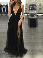 Simple Elegant Long Evening A line V neck Floor length Tulle Sexy Mermaid Evening Dress with Split Front