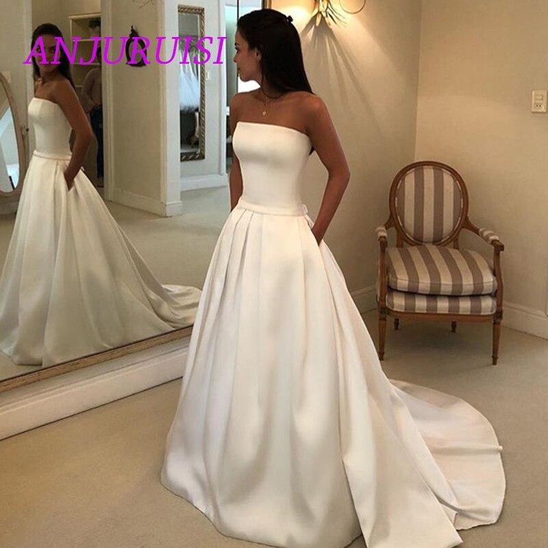 ANJURUIS Simple Boho a-ligne robe de mariée 2019 Satin sans manches robe de mariée violée arc ceintures vestidos de noiva robe de mariée