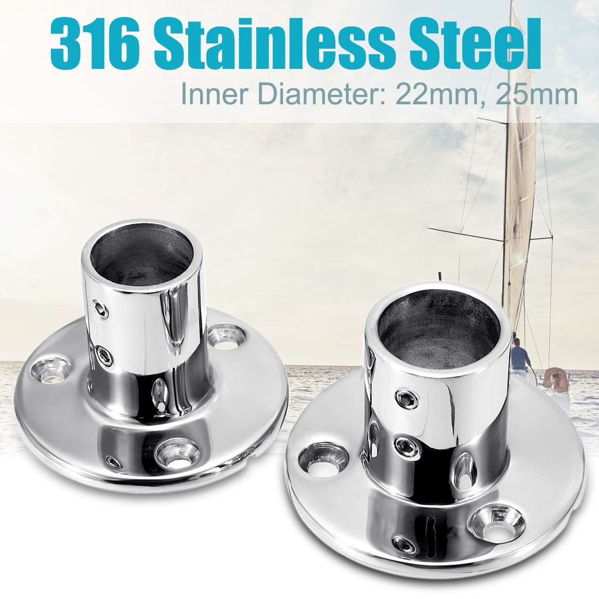 316 Stainless Steel Boat Tube Pipe Base Marine 90° Railing Handrail Pipe Base Fitting Support Durable Reusable Marine Hardware