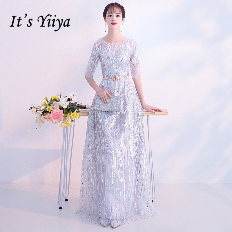 It Is Yiiya Evening Gown Long Slivery Wedding Party Dress 2020 O-Neck Half Sleeve Formal Gowns Shiny Sequin Robe De Soiree K157