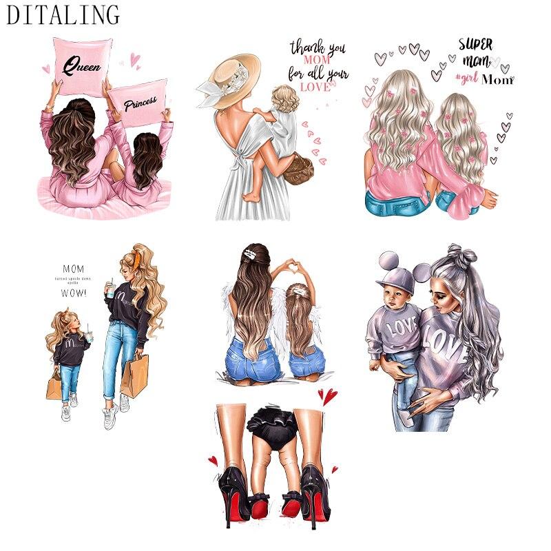Нашивка для одежды, русская термальная наклейка на одежду для девочек, «сделай сам», нашивка для мамы, ребенка, родителя, футболки, переводна...
