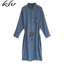 Women Long Sleeve Blouse Dress Lapel Collar Button Down V-Neck Cardigan Midi Knee Length Asymmetric Tunic Tops Shirts M-4XL
