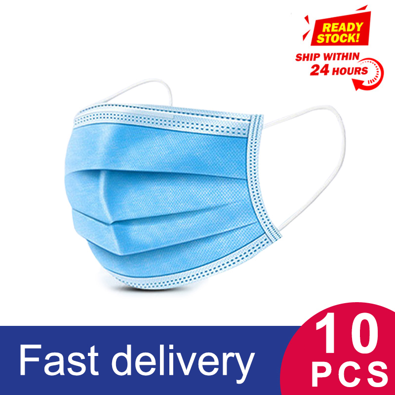 Fast Delivery Hot Sale 3-layer Face Masks Mouth Masks Non Woven Disposable Anti-Dust Meltblown Cloth Protective Masks Earloops