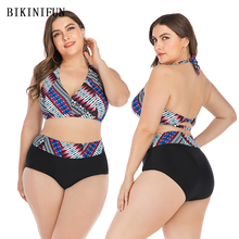 New Sexy Plus Size Swimsuit Stripped Print Bikini Women Backless Swimwear L-4XL Girl High Waist Bathing Suit Halter Bikini Set plus size halter neck printed high waist bikini set for women
