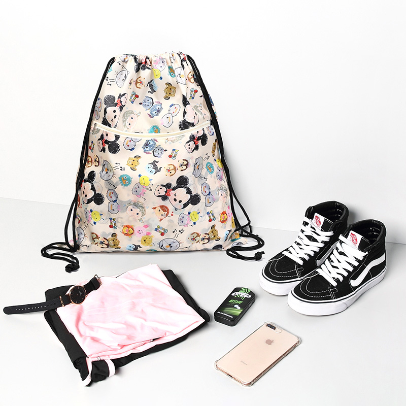 Foldable And Waterproof Gym String Backpack For Workout Outdoor  Running Travel Cartoon School Shopping Bag With Zipper Pocket