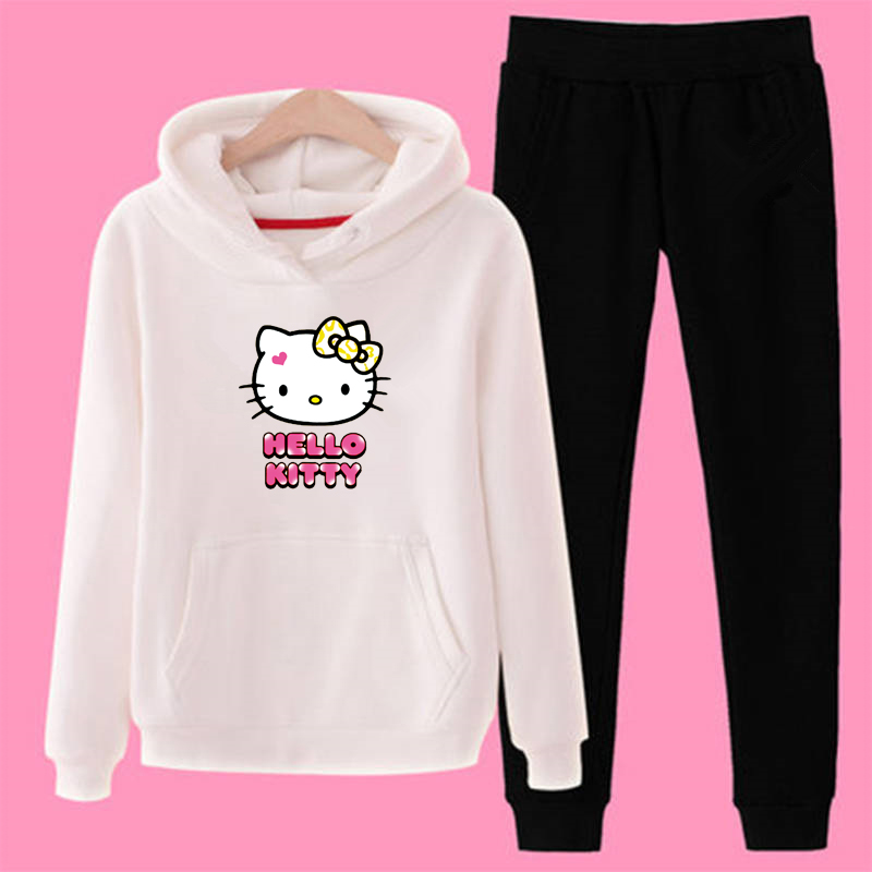 P84 Hello-kitty Plus Size 2 Piece Set Women Outfit Hoodies Sweatshirt Pants Tracksuit Streetwear Casual Suit