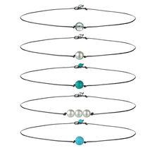 Hot Imitation Pearl Necklace Women Fashion Green Stone Beads Choker Handmade Chocker Jewelry Gift
