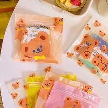 W & G-bolsa sellada de aperitivos para niña, bolsa de alimentación galletas dulces con corazón de oso, envase pequeño, para la escuela, 10 unidades