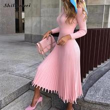 2019 Elegant Pleated Knitted Dress Women Autumn Winter Pink