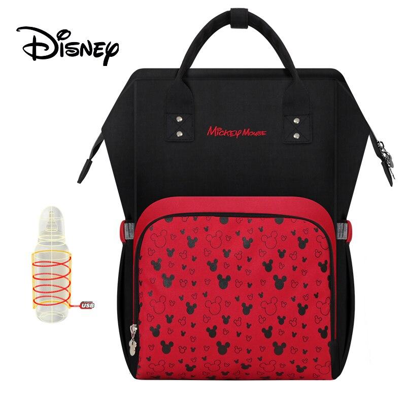 Disney diaper bag Zipper usb bottle heatingmulti large capacity mummy maternity nappy backpack wet baby mother