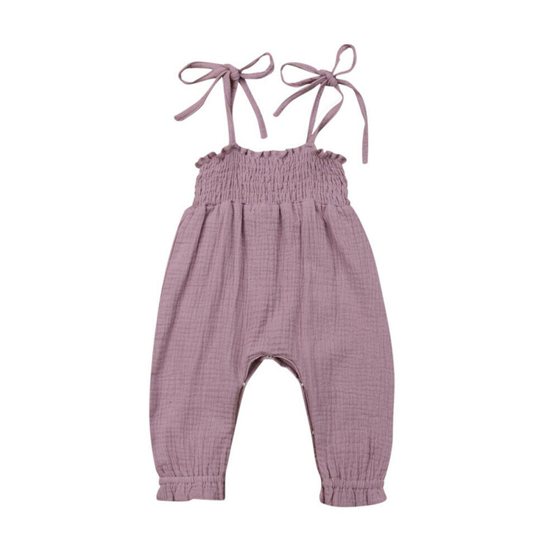 2020 Summer Kids Toddler Baby Girls Sleeveless Bandage Rompers Jumpsuit Overalls Infant Girls Cotton Playsuit Clothes Outfits