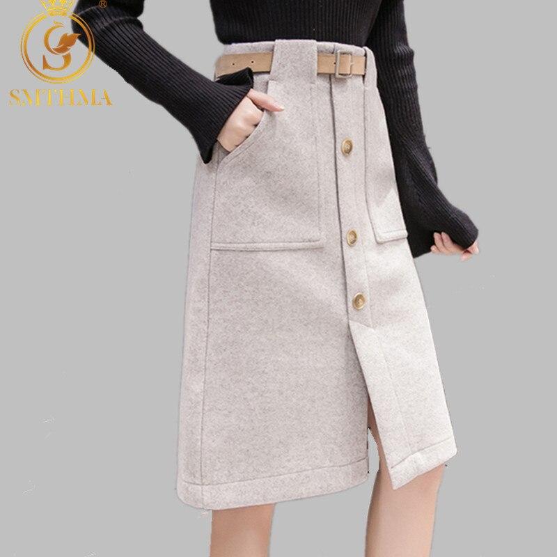 SMTHMA 2019 New Autumn Winter Retro High Quality Woolen Skirt Fashion Warm Knee-Length Women Skirts High Waist With Belt