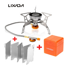 Lixada Outdoor Camping 3200W Big Power Windproof Gas Stove Butane Burner Portable Foldable Split Furnace with 9 plate Windscreen