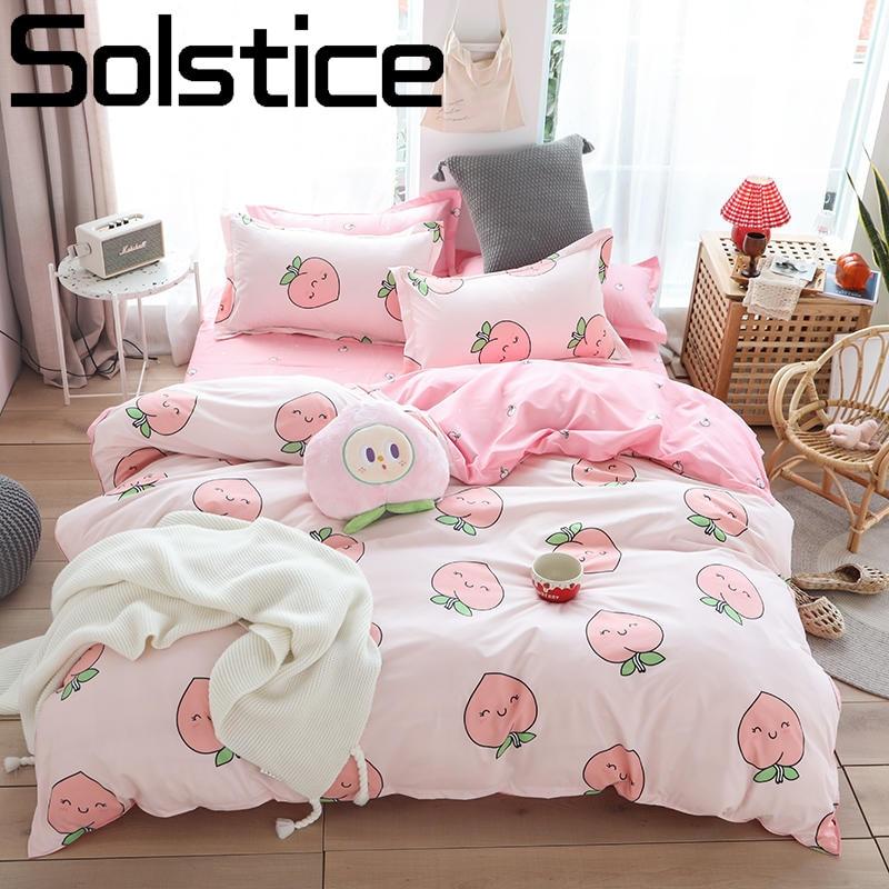 Solstice Home Textile Girl Kids Bedding Set Honey Peach Pink Duvet Cover Sheet Pillowcase Woman Adult Beds Sheet King Queen Full