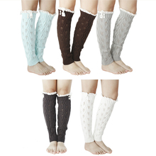 Boots Socks Leg-Warmers Gaiters Knitted Winter Women Lace Button Leaves Girls Autumn