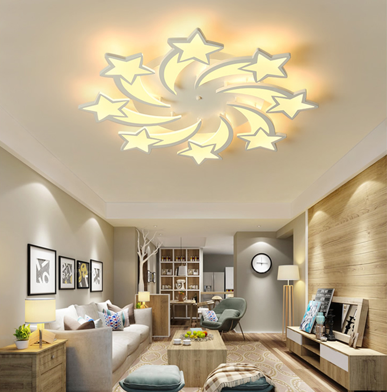 H7f0593840d8f44cd94a73fd2704719abY IRALAN  LEDs Chandelier Modern stars For Living Room Bedroom remote/APP support Home design chandelier  model   ICFW1913