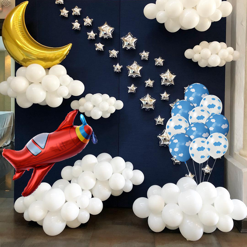 12 Inch Kids Birthday Party Supplies Air Ball Blue White Cloud Balloon And Boy Airplane Toy Birthday Decoration Hawaiian Theme image