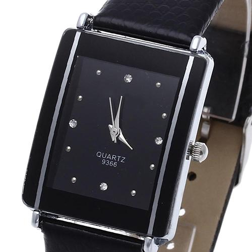 Couple Watches Pair Men And Women Sport Rhinestone Rectangle Dial Faux Leather Band Quartz Wrist Watch Reloj Mujer Couple Gift
