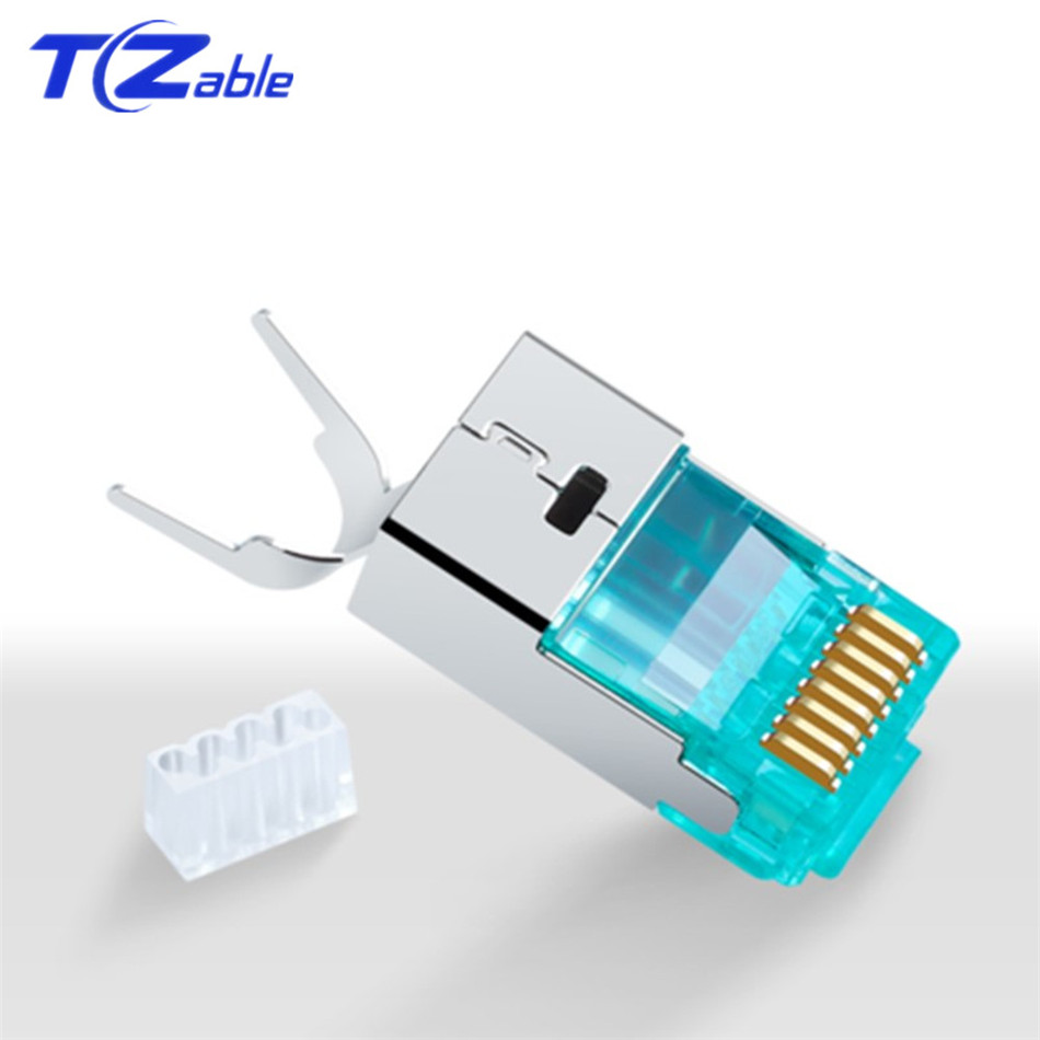 CAT 7 Ethernet Connector RJ45 8p8c Metal Shielding Modular Plug Crystal Head 10Gbps Gold Plated 50U 1.5mm Wire Hole
