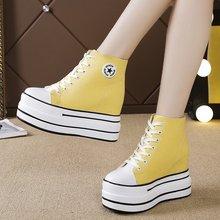 Woman Platform Vulcanized Shoes 10CM Hidden Heel Height Increasing Casual