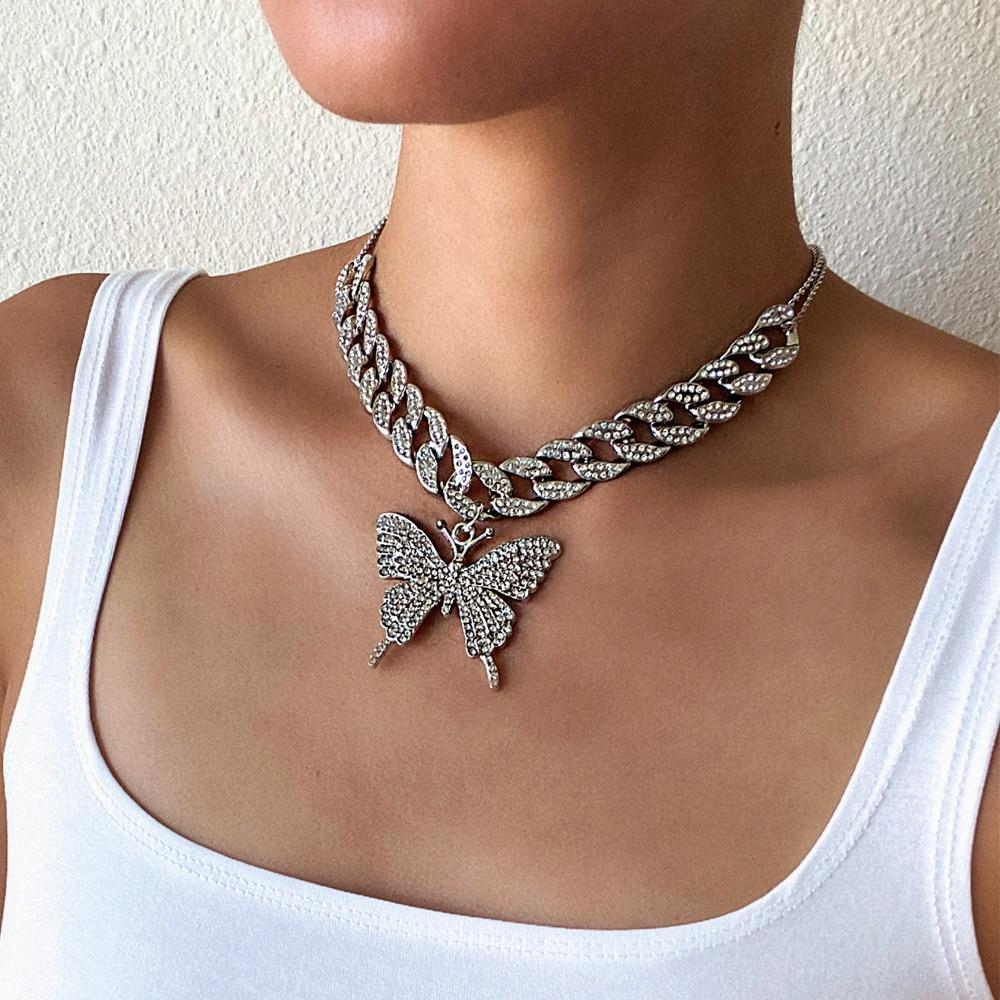 Lien cubain papillon chaîne glacé out chaîne papillon collier femme 2020 chocker hip hop bijoux glace bijoux accessoires