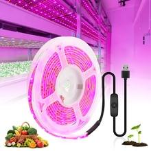 USB Full Spectrum LED Grow Light Strip 0.5m 1m 2m 3m 4m 5m 2835 DC5V LED Fitolampy Fitolampy