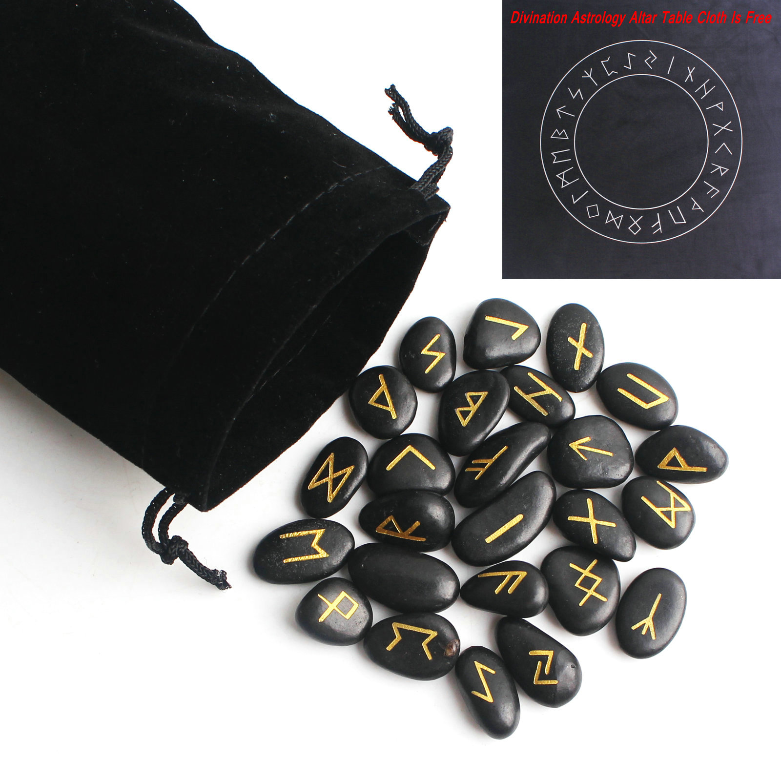 25Pcs Natural Black Riverstones Chakra Divination Rune Crystal Freedom Shaped Pendant Stone Gemstone Healing Stone Decor