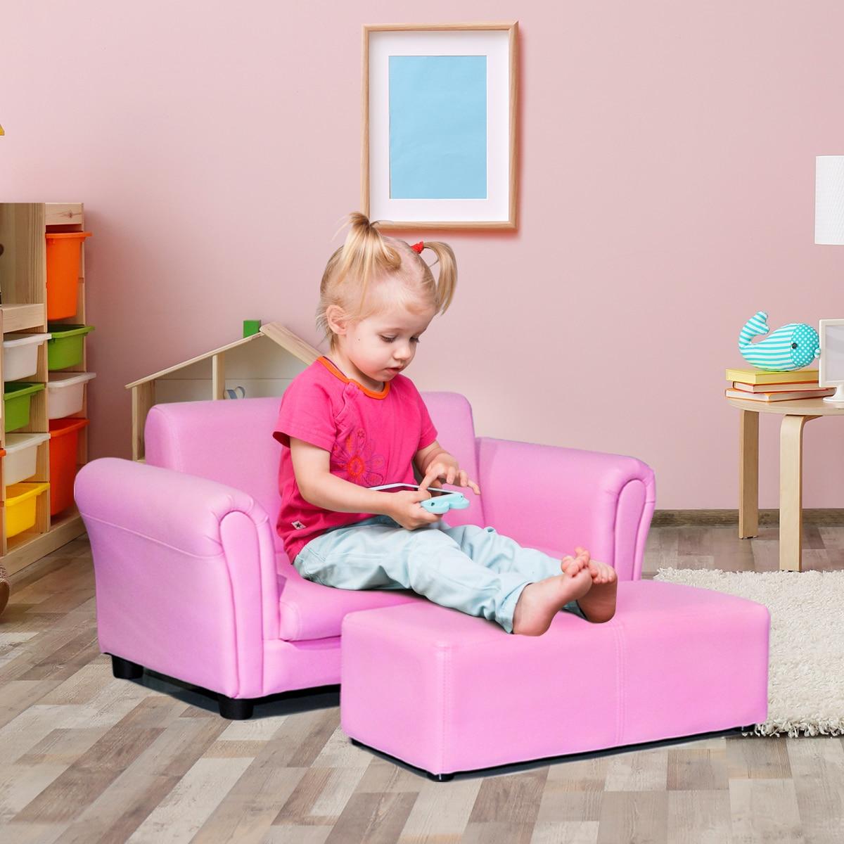 Costway Pink Kids Sofa Armrest Chair Couch Lounge Children Birthday Gift W/ Ottoman