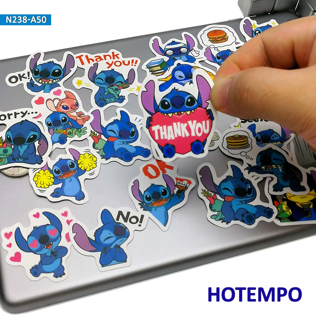 50pcs Cute Lilo Stitch Anime Stickers for Kid DIY Mobile Phone Laptop Luggage Suitcase Guitar Skateboard Bike Case PVC Stickers in Stickers from Toys Hobbies