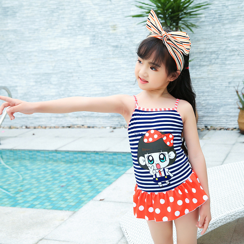 Japanese Korean KID'S Swimwear Siamese Swimsuit Cartoon Camisole Short Skirt Beach Hot Springs Play With Water Service Sweet Cut