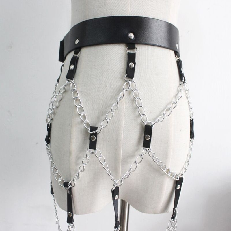 Women Punk Sexy Faux Leather Waist Belt Adjusted Harness Skirt With Metal Chains