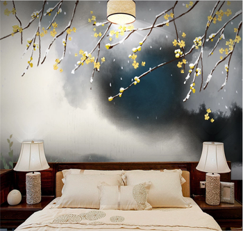 Xuesu New Chinese Ink Plum Blossom Background Wall Retro Winter Decorative Painting Customized Wallpaper 3D/5D/8D