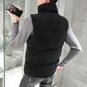 Image 4 - Mens Thicken Waistcoat Corduroy Sleeveless Jacket Men Turtleneck Cotton Padded Warm Coats Letter Logo Slim Fit Winter Vest Men