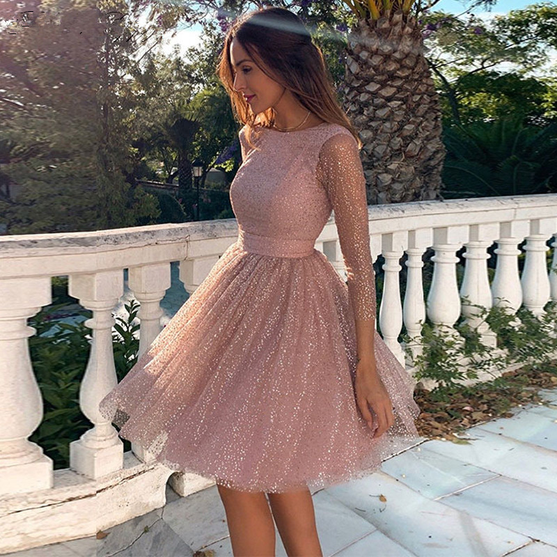 Blush Pink Prom Dresses A-Line Mini 2021 Scoop Neck Long Sleeves Shiny Backless Knee Length Homecoming Graduation Cocktail Gowns
