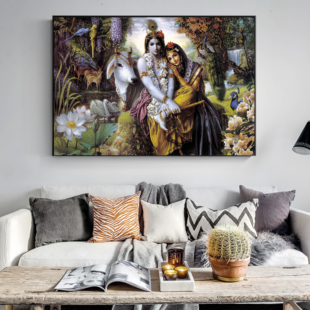 Us 3 54 32 Off Radha Krishna Wall Paintings Print On Canvas Art Prints Hindu Gods Wall Art Posters Hinduism Wall Pictures For Living Room Wall In