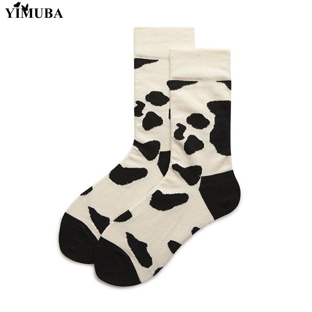 YIMUBA Cream-coloured Cow Printed Cotton Socks Japanese Harajuku Funny Casual Ankle-High Women Socks Everyday Hosiery Streetwear