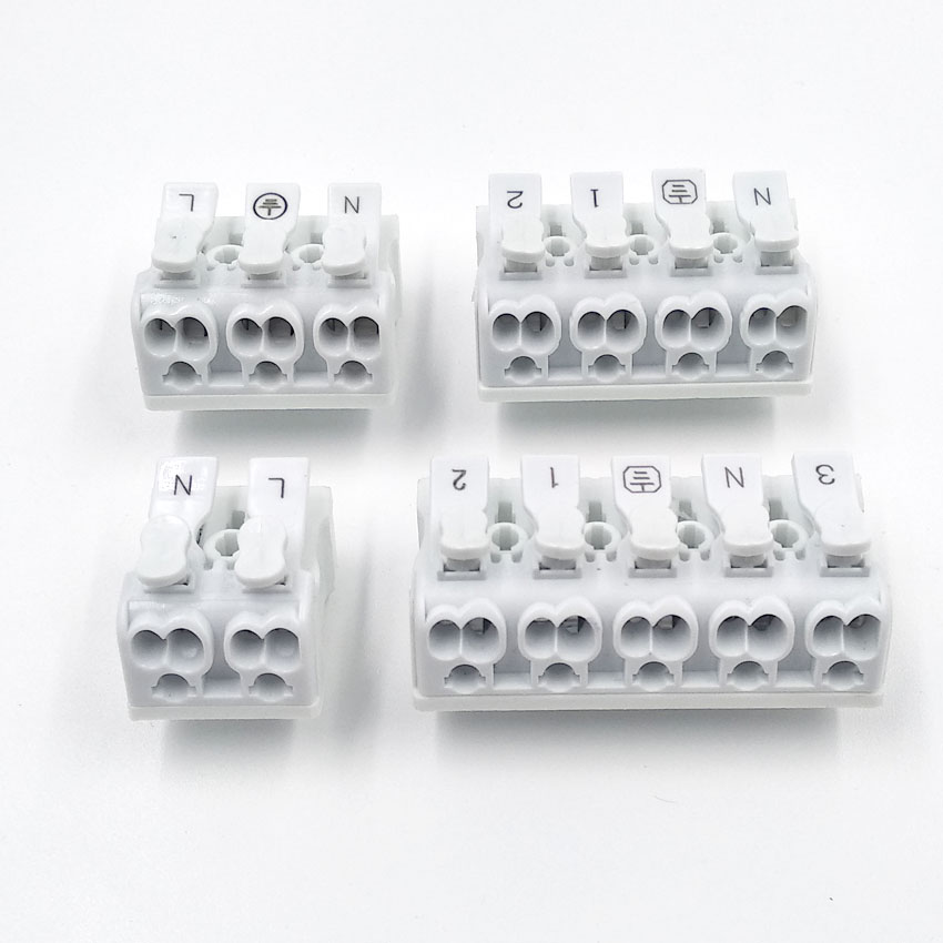 Electrical Cable Clamp Quick Spring Connector Plug Out Terminal Block White