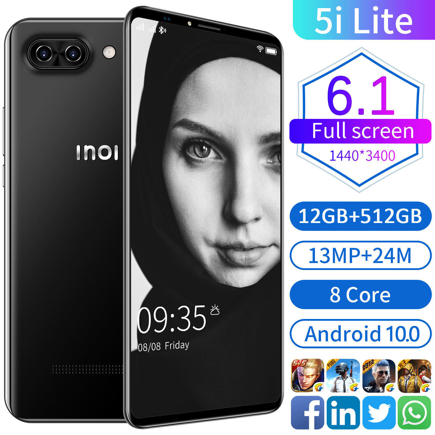 New Global Version 5i Lite 7.2Inch Smartphone 4000mAh 12+512G Support Face Unlock Dual SIM 4G 5G Network Android Cellphone