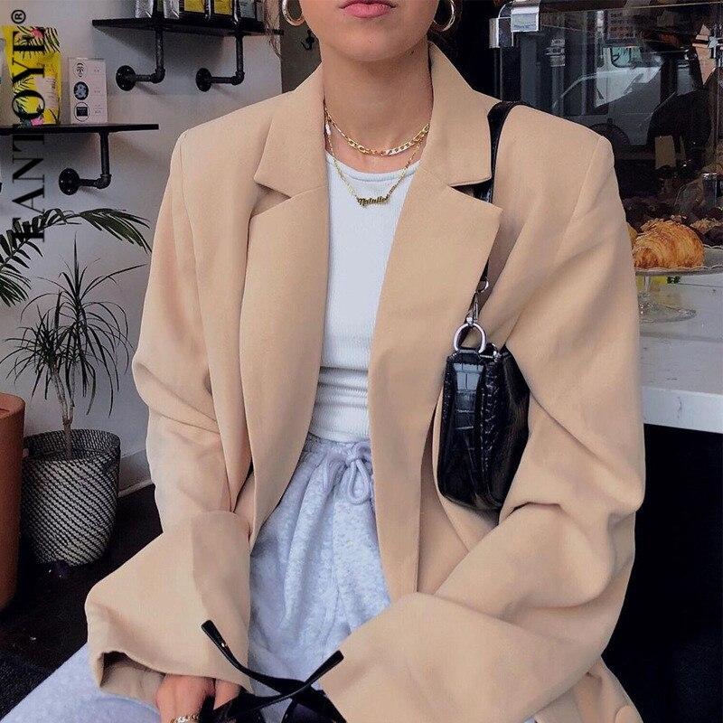 FANTOYE Women Autumn Winter Suit Blazer Casual Breasted Pocket Women's Blazer Dress Suits Elegant Khaki Loose Coat Streetwear
