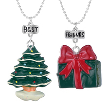 Christmas Tree & Christmas Gift Pendant Necklace Bead Chain Wish Kids Best Friendship Forever Jewelry Children Gift the christmas wish