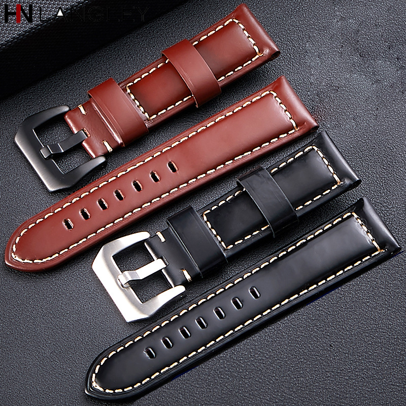High Quality Smooth Watch Band for Panerai Style Men's Watch Bands Genuine Leather Business Watchband Strap 20/22/24/26 mm Size(China)