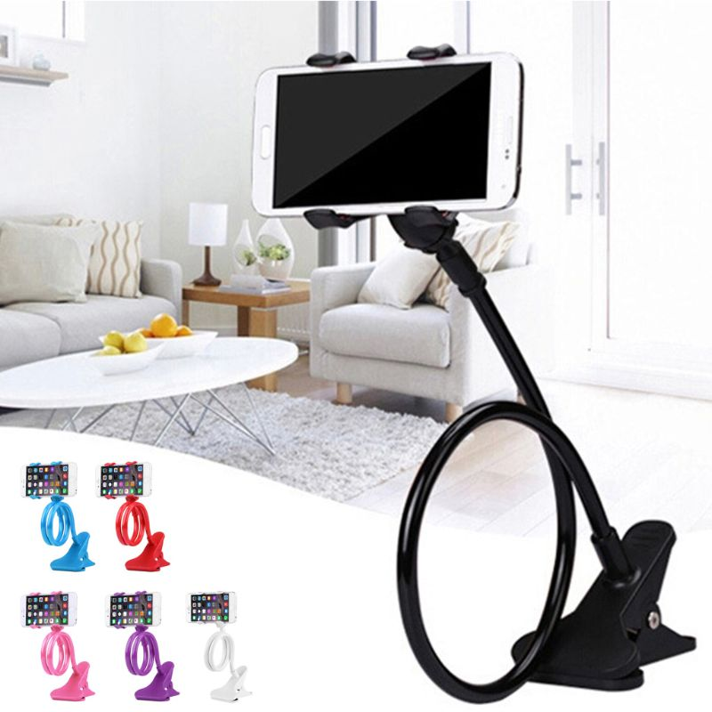 OOTDTY Mobile Lazy Bracket Two Clamp Flexible Phone Stand Holder For Cellphone Support