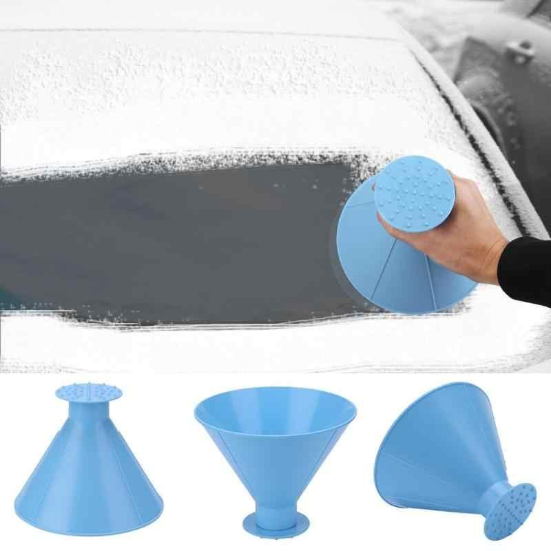 Buz kazıyıcı pencere camı temizleme aracı koni şeklinde buz kazıyıcı açık huni cam sihirli ev kar sökücü temizleyici aracı