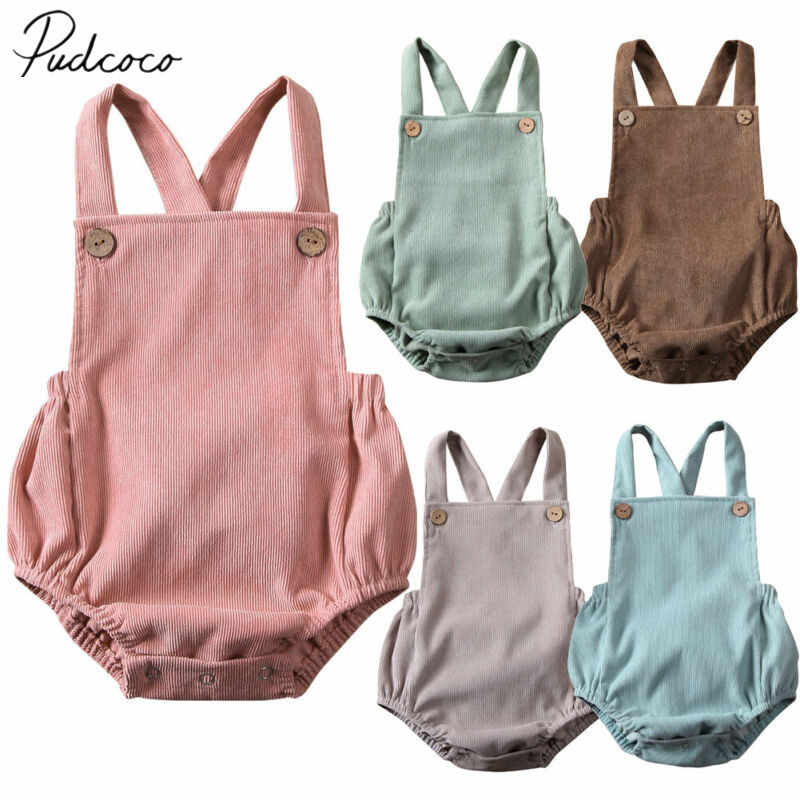 2020 Baby Summer Clothing Newborn Infant Baby Boy Girls Bodysuit Jumpsuit Corduroy Clothes Backless Outfits