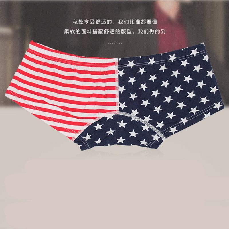 MEN'S Underwear Pure Cotton MEN'S Underwear Star Stripes Banner Printed Men Small Boxers Wx011xp