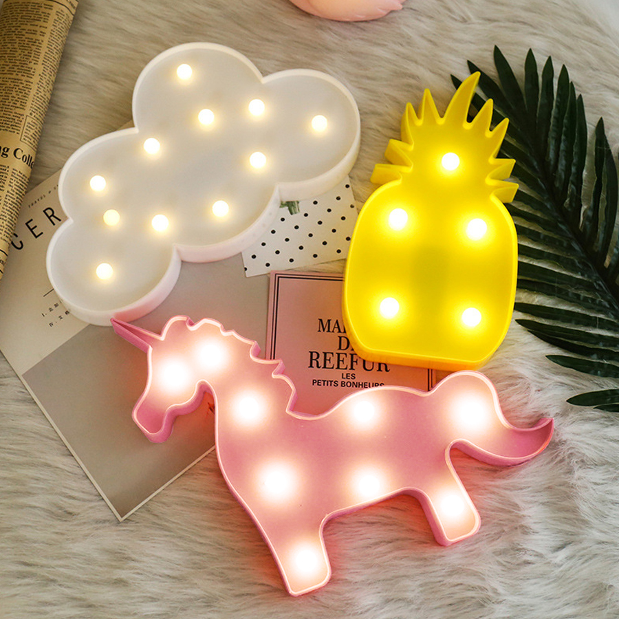 Lamp LED Night Light Fixtures Unicorn Pineapple Lights Cactus Star Luminary Wall Decorations Lighting Christmas Holiday Birthday