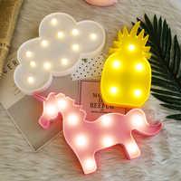 Lampada LED Flamingo Unicorno Luce di Notte Ananas Cactus star Luminare Della Parete decorazioni Regali di Illuminazione vacanze Di Natale di compleanno