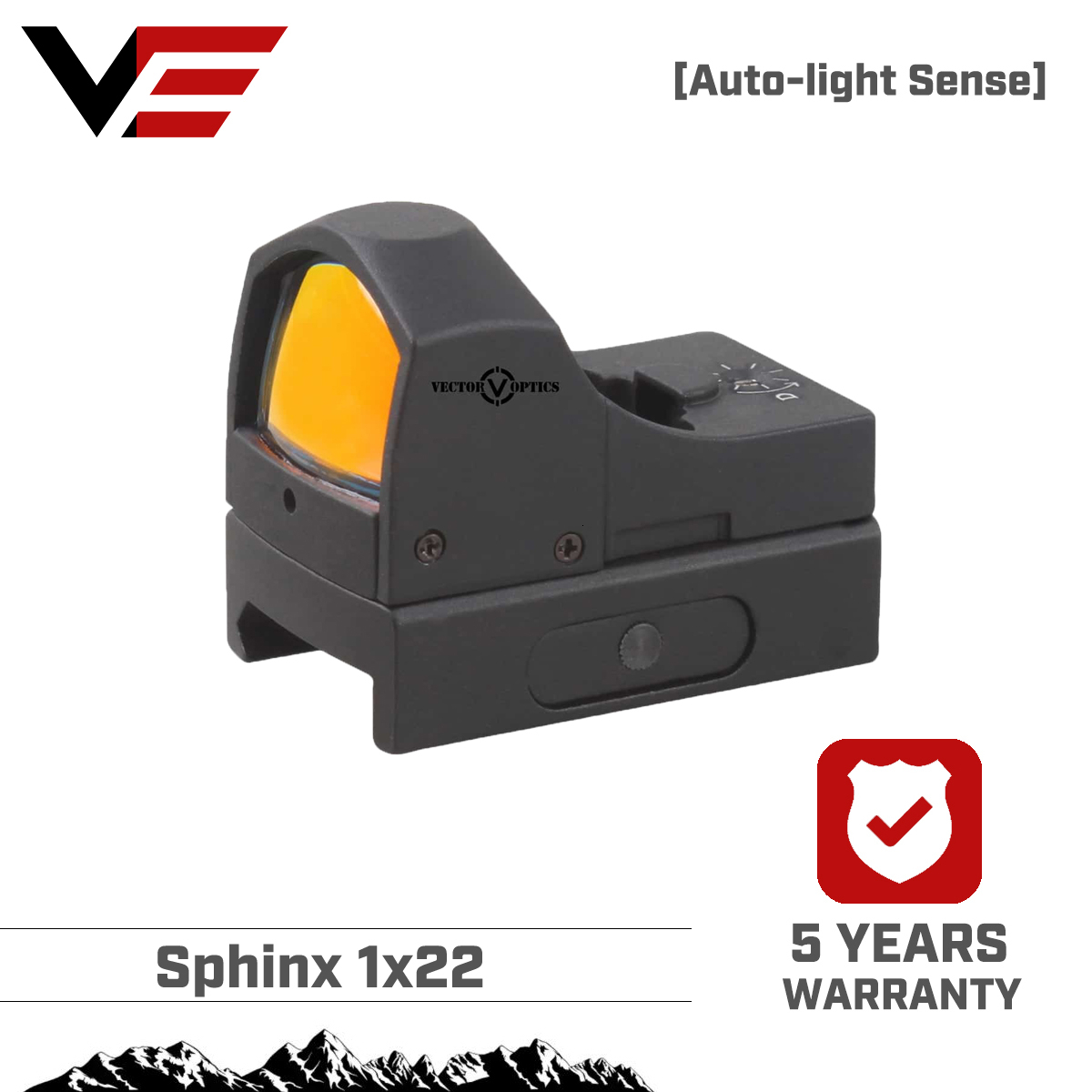 Vector Optics Sphinx 1x22 Auto Brightness Compact Red Dot Sight Doctor 3 MOA 9mm Pistol 12ga Shotgun Reflex Sight